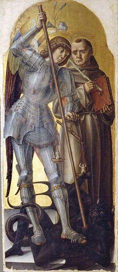 Bartolomeo Vivarini, San Michele Arcangelo e Sant'Antonio da Padova (1483) Tempera su tavola, Bari, Pinacoteca Metropolitana