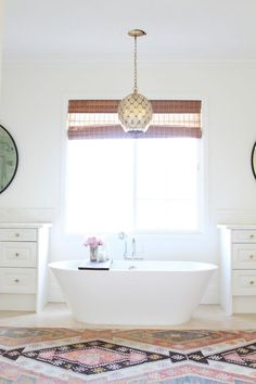 Modern Bohemian Master Bath Retreat... Love, but I'd paint the ceiling a color other than white