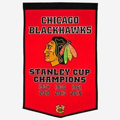 Chicago Blackhawks Banner 24x36 Wool Dynasty #ChicagoBlackhawks