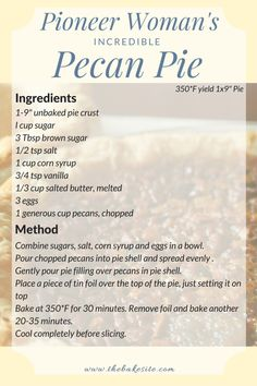 Pioneer Woman's Incredible Pecan Pie This pie is sticky, sweet and has an irresistible crunch. It's rich and delicious - the Pioneer Woman really delivers! - The pioneer woman's incredible pecan pie recipe Pecan Recipes, Pie Recipes, Baking Recipes, Yummy Recipes, Peacon Pie Recipe, Best Pecan Pie Recipe, Yummy Food, Southern Pecan Pie Recipe, Dessert