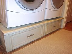diy washer/dryer pedestals - no more leaning down to get things out of the dryer.