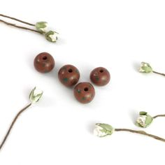 x1 Round Brown Green Spotty Bead Dark Brown Polka Dot Beads