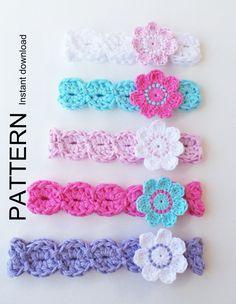 CROCHET HEADBAND Pattern, BABYS headband pattern, Girls headband pattern, 8 sizes, Download pattern, Baby girl headband, flower headband.