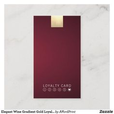 Shop Elegant Wine Gradient Gold Loyalty Punch Vertical Business Card created by AffordPrint. Personalize it with photos & text or purchase as is! Vertical Business Cards, Elegant Business Cards, What Is Fashion Designing, Identity Design, Magazine Design, Gold Accents, Punch, Wine, Loyalty Cards