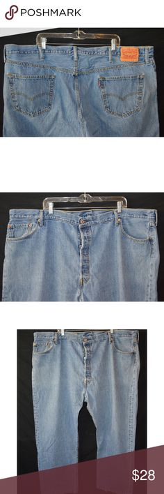 Levi's 501 Straight Leg Button Fly Jeans 50x30 Jeans are in great used condition with normal wear on thighs and leg bottoms   Measurements taken laying flat      Waist- 25  Hip- 30  Rise- 14  Inseam-30   Thigh- 14  Leg Opening-10.5      Item #  11-01 3.0 Levi's Jeans Straight