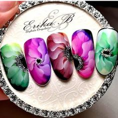 The most beautiful and elegant ideas of manicure. Bridal Nails Designs, Flower Nail Designs, Flower Nail Art, Nail Art Designs, Jolie Nail Art, 3d Nail Art, Dope Nails, Swag Nails, Uñas One Stroke