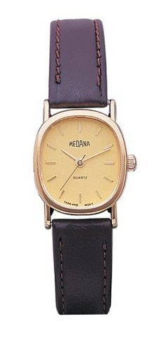 Medana Women's Oval Gold-Tone Case Brown Leather Strap Watch # 2041 Medana. Save 67 Off!. $9.95. Precision Japanese quartz movement. Genuine brown leather strap. Polished oval gold tone case. Champagne dial with gold tone stick markers. Gift box and lifetime limited warranty