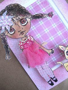 Paper Doll Mixed Media Pop Art OOAK Original 3D by cindysowers