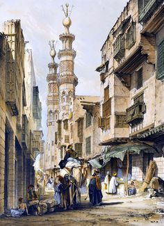 "A street in Cairo 1840  By Robert Hay - British, 1799-1863  From Illustration of Cairo , 1840  Robert Hay was one of the pioneers of Egyptology. He first visited Egypt in 1824, and returned ""as one of the leading members of an archaeological expedition between 1826 and 1838"