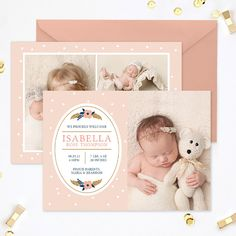 Birth Announcement Template, Newborn Announcement Template, Birth Announcement Girl, Birth Announcement Card Template Photoshop - BA183 by hazyskiesdesigns on Etsy https://www.etsy.com/uk/listing/233334857/birth-announcement-template-newborn