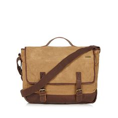 Weird Fish Tan leather and canvas messenger bag- at Debenhams.com