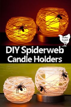 This cheap Halloween DIY project couldn't be easier! Turn dollar store vases int… This cheap Halloween DIY project couldn't be easier! Turn dollar store vases into creepy Spiderweb Votive holders with yarn and hot glue Dollar Store Halloween, Halloween Tags, Halloween Crafts For Kids, Dollar Store Crafts, Dollar Stores, Haloween Craft, Halloween Christmas, Vintage Halloween, Halloween Makeup