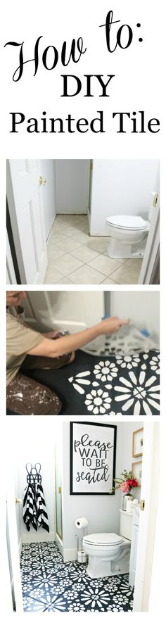 HOW TO: DIY PAINTED FLOOR TILE! Step by Step tutorial on how to paint tile floors to turn something plain and boring into a show stopper.
