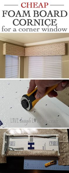 How to Make a Foam Board Cornice for a Corner Window I recently did a DIY overhaul on my master bathroom, and I wanted to create a cornice window treatment for the window. I found lots of great tutorials on creating one out of foam board, but couldn&… Corner Window Treatments, Bathroom Window Coverings, Bathroom Window Curtains, Window Cornices, Bathroom Windows, Diy Curtains, Bedroom Curtains, Gypsy Curtains, Window Blinds