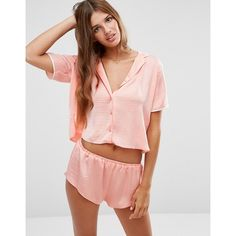 560d8d5854ff3 ASOS Miley Satin Piped Pyjama Top & Short Set ($46) ❤ liked on Polyvore  featuring intimates, sleepwear, pajamas, orange, satin pyjamas, asos,  pyjama tops, ...