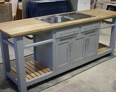 Freestanding Kitchen Sink Cupboard | Etsy Kitchen Sink Units, Outdoor Kitchen Sink, Freestanding Kitchen, Bedroom Cupboard Designs, Bedroom Cupboards, Belfast Sink, Storage, Modern, Kitchens