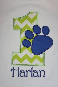 Dog Paw Print Number Shirt or Onesie  by OhSewSweetEmbroidery, $20.00