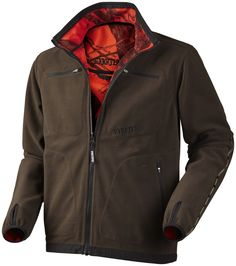 Lightweight and reversible fleece jacket with windproof, breathable GORE WINDSTOPPER membrane. Combines classic brown and red Mossy Oak camo for safety. Features radio pocket on both sides, reflective bands, elastic in cuffs and thumb holes. Mossy Oak Camo, Cigar Accessories, Hunting Clothes, Motorcycle Jacket, Leather Jacket, Brown, Cuffs, Red, Safety