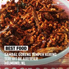 Sambal goreng Tempeh kering teri uit de Airfryer and many more (indonesian recipes made by airfryer) Tempe Goreng, Indonesian Cuisine, Indonesian Recipes, Good Food, Yummy Food, Tempeh, Vegan Foods, Pulled Pork, Dinner Recipes