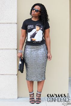 Graphic T-Shirt and Sequin Skirt   (My Social Anxiety)