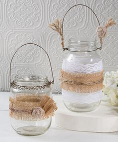 Another great find on #zulily! Burlap & Lace Jar Décor - Set of Two #zulilyfinds