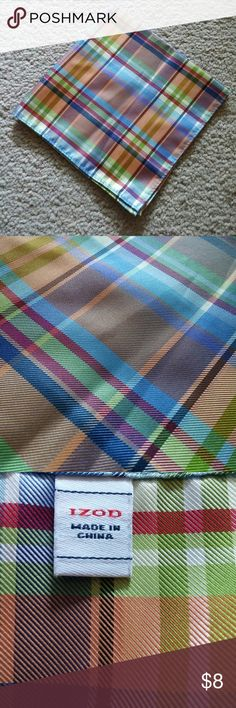 Izod Pastel Plaid Handkerchief No trades. 100% polyester. Dry clean only. Thanks for looking! Izod Accessories Scarves & Wraps