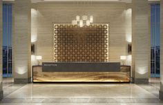 modern hotel Proof that a lobby design is j - hotel Hotel Reception Desk, Office Reception Design, Lobby Reception, Reception Counter Design, Hotel Lobby Design, Design Entrée, Wall Design, Door Design, Design Ideas