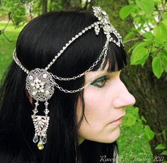 Raven Eve Jewelry | Bespoke Art Nouveau Mucha Rhinestone Headdress | Raven Eve Gothic Jewelry And Accessories