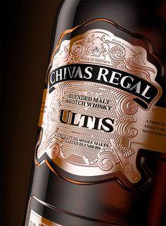 Chivas Regal Ultis by Vagner Anjos packaging and label design 30 Unique Packaging and Label Designs for Whisky Bottles Whiskey Label, Whiskey Brands, Cigars And Whiskey, Scotch Whiskey, Whiskey Bottle, Wine Bottle Labels, Bottle Packaging, Liquor Bottles, Alcoholic Drinks Bottles