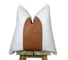 Faux Leather and Linen Pillow Cover #affiliate