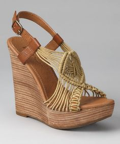 Take a look at this Natural Macrame Wedge Sandal  by MIA Shoes on #zulily today!