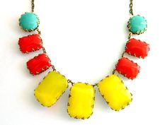 Red Turquoise and Yellow Necklace, Mid Century Necklace, Statement Necklace, Vintage Summer Necklace, Geometric Necklace, Retro Mod Jewelry