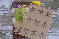 """Use circle Avery labels on your photography client packages & a custom rubber stamp """"Do Not Bend- Photos enclosed"""" by Corina Nielsen"""