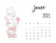 Cool Calendars, Cute Calendar, Print Calendar, Calendar Design, 2021 Calendar, Bullet Journal Books, Book Journal, Kawaii, June Calendar Printable