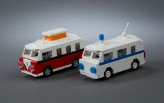https://flic.kr/p/B4ahVS   Ambulance   Another old build. Until recently, the roof element for the VW Camper Van mini-build was only available in white and light aqua. This made for a good ambulance.  I would love to have been able to put some graphics on the front and sides, but my PS skills aren't up to snuff.  Enjoy!