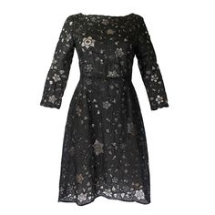 Oscar De La Renta Black Beaded Illusion Lace Organza Cocktail Dress | From a collection of rare vintage evening dresses at https://www.1stdibs.com/fashion/clothing/evening-dresses/