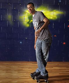 Point guard Rajon Rondo shows off his other love, roller skating. <3