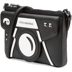Karl Lagerfeld Camera Shoulder Bag ($135) ❤ liked on Polyvore featuring bags, handbags, shoulder bags, print handbags, black and white handbags, black white purse, studded purse and studded handbags - funky handbags, handbags uk, wholesale designer handbags