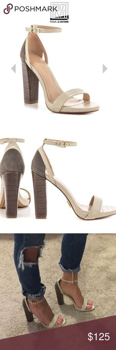 """NWT POUR LA VICTOIRE CHASE CARBON WHITE HEELS -7.5 NWT POUR LA VICTOIRE CHASE CARBON WHITE 4.5"""" HEELS - 7.5. Ⓜ️ - $85 / RETAIL: $225 - CURRENT ONLINE PRICE - $160. You'll have a following in the Chase. This Pour La Victoire sandal showcases a white textured leather with adjusting ankle strap and single sole. Grey suede trims the back and leads to a 4 1/2 inch block heel. Brand new, but no box.   Shoe Details:  Leather Upper Leather Sole Made In China This Shoe Fits True To Size. Pour la…"""