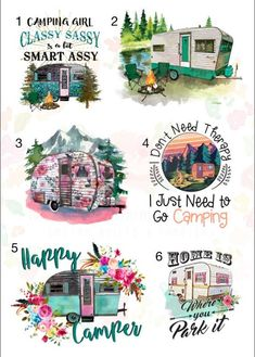 Waterslide Decals Camping Mix camper \ laser printed / laser decals / tumbler supplies \ yeti decal *Waterslide Ready To Use* Diy Tumblers, Custom Tumblers, Yeti Decals, Vinyl Decals, Wall Stickers, Wall Decals, Wall Art, How To Dye Fabric, Dyeing Fabric