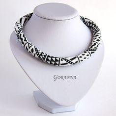 Häkeln Halskette schwarz-weiß Patchwork