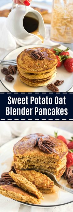 Sweet Potato Oat Blender Pancakes - Nutritious Eats - Foodie- Sweet Potato Oat Blender Pancakes - Nutritious Eats Sweet Potato Oat Blender Pancakes are made right in your blender and full of whole foods, nutritious ingredients. Milk Recipes, Baby Food Recipes, Whole Food Recipes, Healthy Recipes, Flour Recipes, Pancakes Nutella, Oat Pancakes, Breakfast Pancakes, Oat Muffins