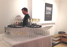 Champagne Glasses and Islande Hi-Balls at the Turner Exhibition at the Andrew Clayton-Payne Gallery.