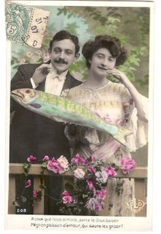April Fool's - Poisson d'Avril postcard postmarked March 31st, 1907.