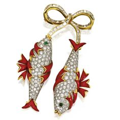 DIAMOND, ENAMEL AND EMERALD 'POISSONS' BROOCH, SCHLUMBERGER, TIFFANY & CO. Designed as two pavé-set diamond fish, each enhanced by red enamel and gold fins, the eyes set with 2 cabochon emeralds, suspended from a bow set with baguette and rectangular-cut diamonds, the total diamond weight approximately 14.00 carats, mounted in 18 karat gold and platinum, signed Schlumberger, Tiffany & Co.