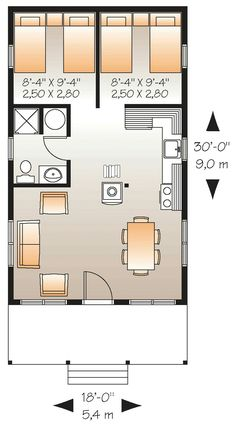 Tiny house plan 800 sq ft 2 bedroom 1 bathroom nice for 28x32 floor plan