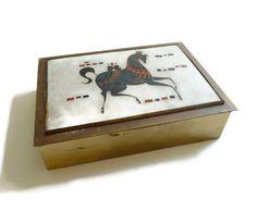 Modernist Matte Cloisonne Enamel on Brass Box  by mascarajones