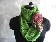 (4) Name: 'Crocheting : Infinity scarf with rose