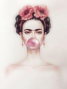 Find great deals for Frida Kahlo Bubble Gum Art Imagen Cartel impresión Laminad. Pop Art, Kahlo Paintings, Frida Art, Frida Kahlo Artwork, Photo Deco, Foto Poster, Trendy Wallpaper, Make Art, Bubble Gum