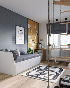 Boys bedrooms furniture can also be fun! Discover more ideas and inspirations with Circu Magical furniture. Modern Bedroom Design, Home Office Design, Interior Design Living Room, Room Interior, Teen Room Decor, Childrens Room Decor, Boys Bedroom Decor, Boys Bedroom Furniture, Cheap Furniture